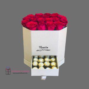 صندوق ورد و شوكولاتة فريرو
