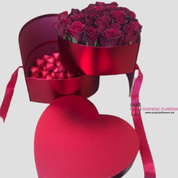 صندوق القلب ورد وشوكولاتة تركية